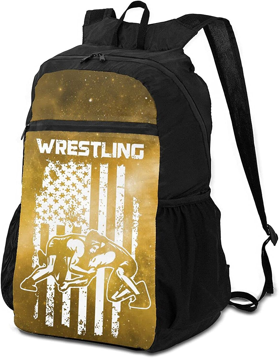 Usa Wres-Tling Fashion Classic Great interest Max 73% OFF Day Packable Lightweight Backpack