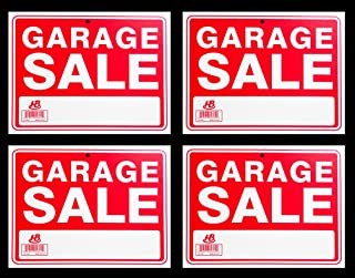 4 Signs GARAGE SALE Sign Flexible Heavy Thick Plastic (9 inch X 12 inch)