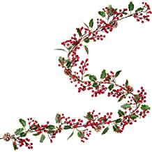 Artiflr 7FT Red Berry Christmas Garland with Pine Cone Garland Artificail Berry Garland Indoor Outdoor Garden Gate Hone Decoration Lights for Winter Holiday New Year Decor
