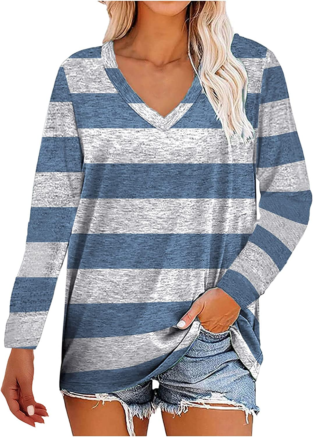 JSPOYOU Womens Long Sleeve V Neck Tunic Tops Basic Stripe Printed Casual Loose Comfy Blouses Tops