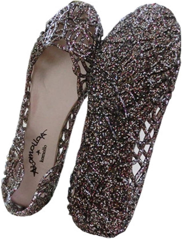 Global tesco Womens Crystal Glitter Plastic Jelly Hollowed Flat Sandals Beach Pumps shoes