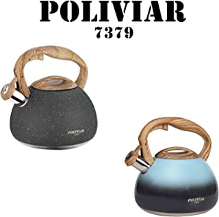 Poliviar Tea Kettle, 2.7 Quart Natural Stone/Seabed Blue with Wood Pattern Handle Loud Whistle Food Grade Stainless Steel Teapot, Anti-Hot Handle and Anti-Rust, Suitable for All Heat Sources