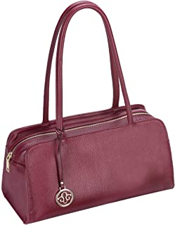 Leather Satchel Handbag for Women Purses and Handbags Top Handle Small Tote Shoulder Bag Red Pebble Leather
