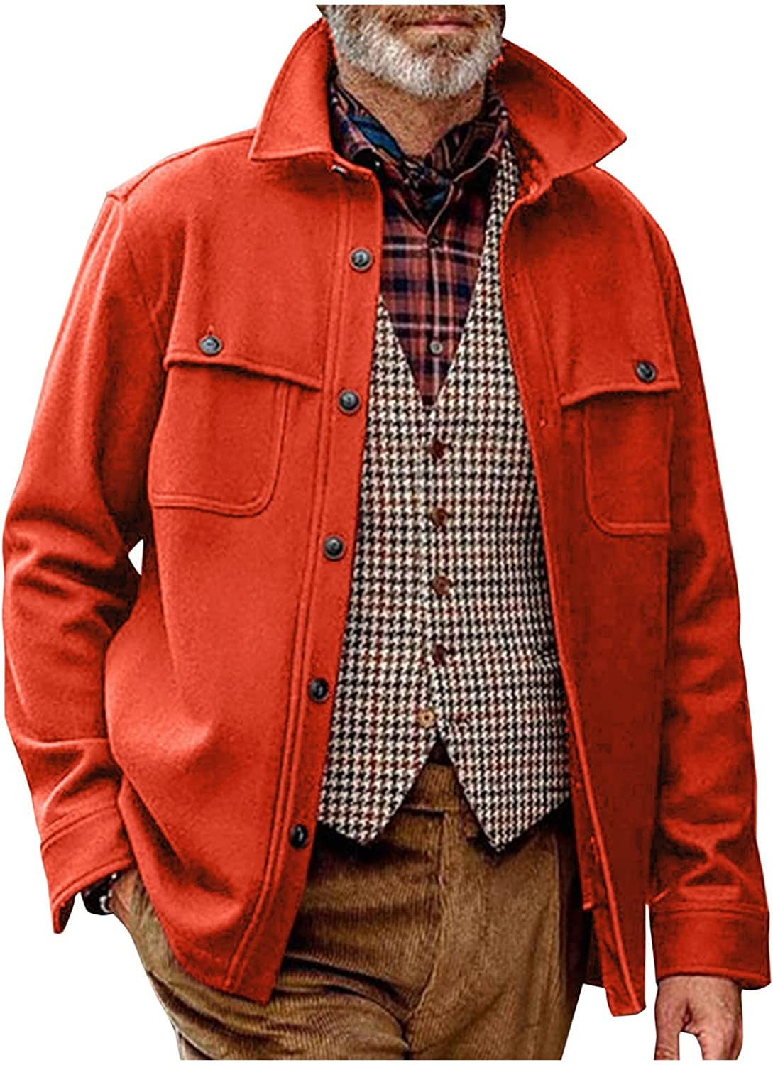 Mens Jackets Casual Big And Tall,Casual Cotton Jacket Button Down Woven Lightweight Shirt Jacket Slim Fit Warm Jacket