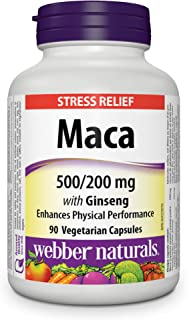 Webber Naturals Maca Energy with Ginseng, Vegetarian Capsule, 500 mg , 200 mg, 90 Count