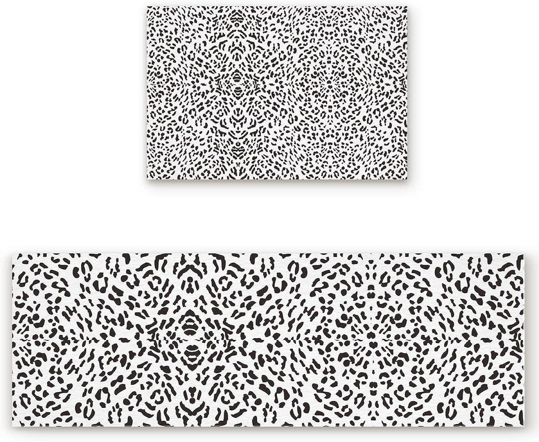 SODIKA 2 Pieces Kitchen Rug Set,Non-Skid Slip Washable Doormat Floor Runner Bathroom Area Rug Carpet,Animal Leopard Print (19.7x31.5in+19.7x63 inches)