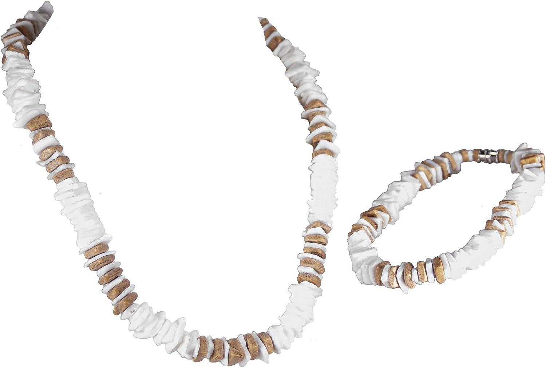 BlueRica 2 Piece Set ~ Puka Chip Shells & Tan Coconut Chips Necklace & Anklet