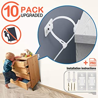 Furniture Straps Anchors Baby Proofing - 10 Pack Anti Tip Kit Earthquake Safety Strap Secure Dresser Bookcases Bookshelf Cabinet to Wall, Full Tipping Restraint Quakehold Mounting Tether for Children