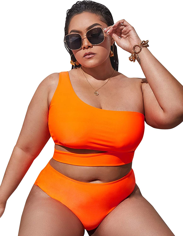 Milumia Women Plus Size Sexy 2 Piece Bikini Set One Shoulder Cut Out High Waist Swimsuit