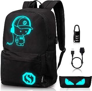 Amazons Choice for mochilas escolares · Luminous School Backpack,Ezonteq Anime Cartoon Music Boy Shoulder Laptop Travel Bag Daypack College Bookbag