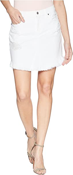 Skirt w/ Scallop Frayed Hem & Destroy in White Fashion 3