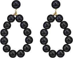 Kenneth Jay Lane - Gold w/ Black Balls Hoop Pierced Earrings