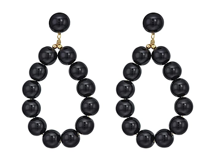 53fa93b3e Kenneth Jay Lane Gold w/ Black Balls Hoop Pierced Earrings at Zappos.com