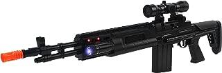 Super Action Toy Gun M14 Sniper Rifle w/ Lights, Sounds, Scope Attachment, Vibrating Recoil Action, Ultraviolet Blue Light Piece, & Extending Stock Attachment