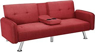 Flesser Convertible Sofa Bed and Couches 74.8 Linen Futon Loveseats with Cup Holders Folding Home Recliner Couch Fit Living Room//Bed Room//Guest Room