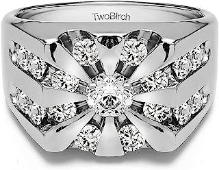 خاتم رجالي من الفضة الإسترلينية من تو بيرش على شكل شروق الشمس مع زركونيا مكعب (2 قطعة الحجم)