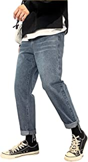 Men's Retro Style Jeans Distressed Comfort Flex Waist Relaxed Fit Straight