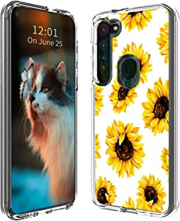 for Moto G8 Plus Case, Transparent Dual Layer Hybrid Soft TPU and Hard PC Full Body Shockproof Protective Printing Design ...