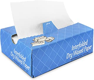 [500 Pack] Interfolded Food and Deli Dry Wrap Wax Paper Sheets with Dispenser Box, Bakery Pick Up Tissues, 6 x 10.75 Inch