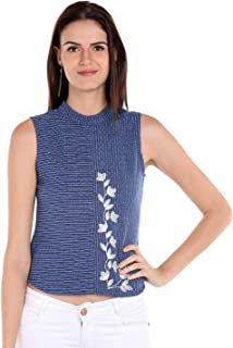 Fusion Beats Women Polycotton Navy Blue Embroidered Top
