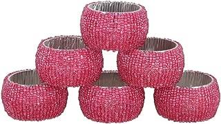 ShalinIndia Beaded Napkin Rings - Set of 6 Rings -Pink Napkin Rings Set -Diameter-1.5 Inch