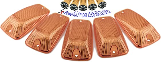ERPART 1988-2002 Amber Cab Roof Covers Markers Lenses + 5 Super Bright Amber LED Lights Five Piece pc Kit Set CRL 264159AM Compatible with Chevy GMC 2500 3500 4500 5500 6500 7000 Kodiak Topkick 88-02