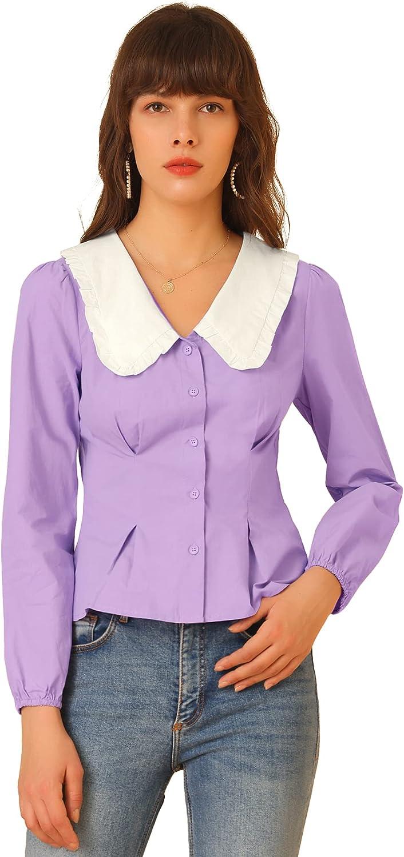 Allegra K Women's Contrast Peter Pan Collar Long Sleeve Button Down Cotton Shirt