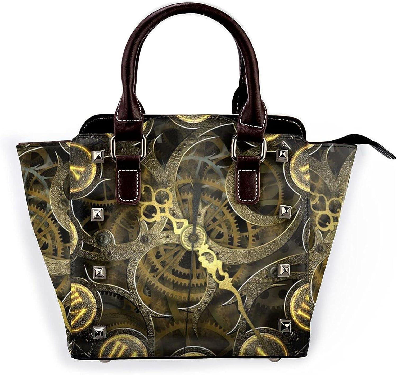 Ladies Leather Tulsa Mall Rivet Shoulder Clock Washington Mall Bag Gearhandbag Multi-Facet