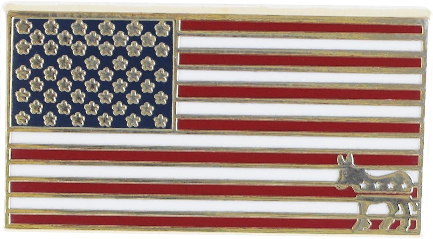 Forge American Flag Democrat Donkey Lapel Pin (1 Pin)