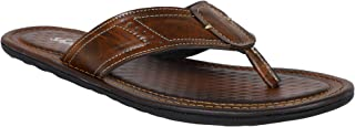 SHENCES Brown Faux Leather Slipper Slip On Casual Slipper