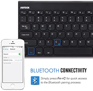 Bluetooth Keyboard, Arteck Stainless Steel Universal Portable Wireless Bluetooth Keyboard for iOS iPad Air, Pro, iPad...