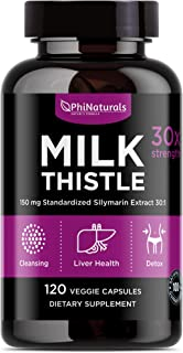Milk Thistle 150 mg Capsules – [120 Count] Liver Cleanse Support Detox Vitamin – Extra Strength Silymarin Extract – Silybu...