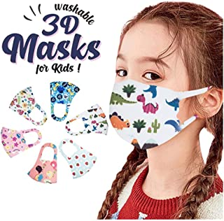 AmaSells Children's Reusable Face Mask UK,6Pcs Kids Washable Adjustable Cartoon Lovely Ice Silk Cotton Mouth Cover,Cute Print Dust Proof Breathable Bandanas for Boys and Girls Protective