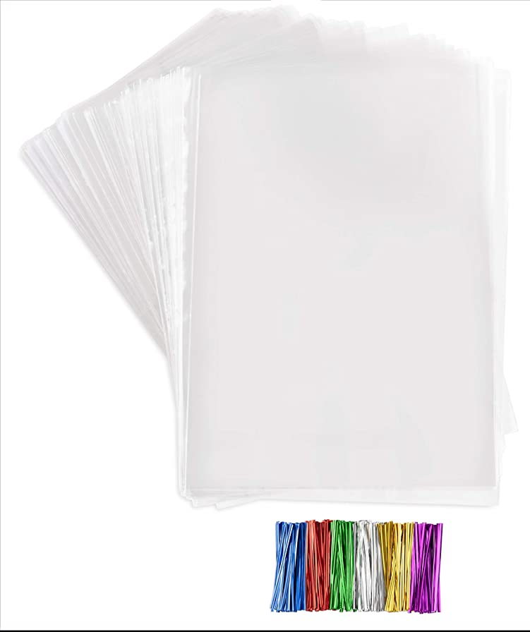 Clear Plastic Cellophane Bags With twist ties Cello Bags For Candies Nuts Small Gifts (200, 11