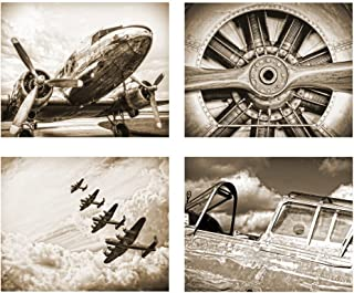 Wallables Antique Sepia Vintage Aviation Wall Art, Set of Four 8x10 Airplane Theme Decor Prints, Great for Mens Gift, Office, Home, Bachelor pad, Barbershop Decoration! Only at