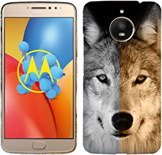 Moto E4 Plus Case - Wolf Face Hard Plastic Back Cover. Slim Profile Cute Printed Designer Snap on Case Glisten