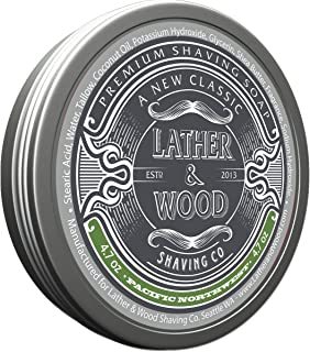 Lather & Wood Shaving Soap - Woodsy Scent - Simply the Best Luxury Shaving Cream - Tallow - Dense Lather with Fantastic Scent for the Worlds Best Wet Shaving Routine. 4.6 oz (Pacific Northwest)