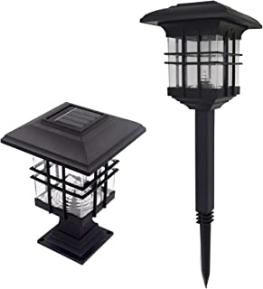 Baisde Solar Pillar Cap Ground Lights Outdoor LED IP65 Cold Warm for Patio Ptio Fence Energy