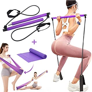 GLBLAUCK Portable Pilates Bar Kit with Resistance Band and Free Strength Bands, Yoga Pilates Bar Kit Exercise Pilates Stic...