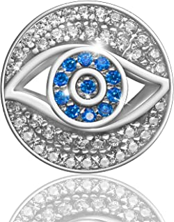 Evil Eye Bead Charm for Bracelets Necklace Jewelry Making, Protection Turkey Greece Greek Devil Eye Clear CZ Charm 925 Sterling Silver Fine Jewelry Gifts for Babies, Kid and Grandmothers