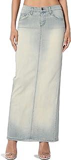 Stone Wash Jean Pencil Knee Length Midi Stretch Denim Skirt
