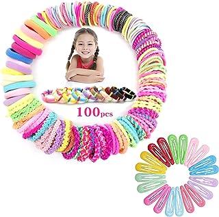 Set van 120 stuks haaraccessoires voor meisjes, 100 stuks haarelastiekjes voor meisjes, 20 stuks haarspelden, multicolor h...