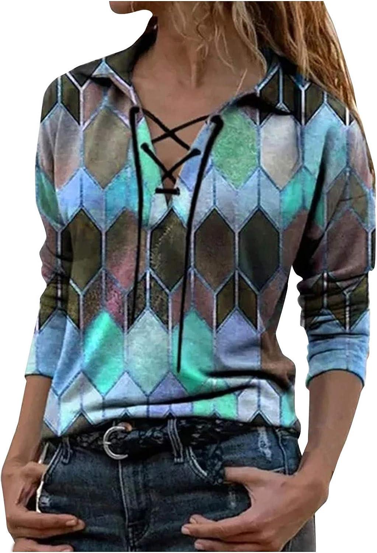 AODONG Sweatshirts for Women Fashion Bandage V-Neck Long Sleeves Boho Blouse Casual Colors Printed Tunics