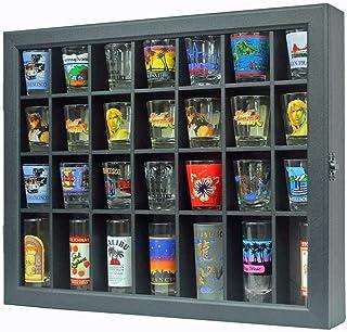 Shot Glass Display Case Shadow Box Cabinet Display Stand (Black)