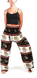 Atiya 100% Rayon Tie-Dye Multicolor with Pattern Unisex Smocked Waist Harem Pants, Hippie Yoga Boho Summer Beach Casual St...