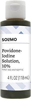 Amazon Brand - Solimo 10% Povidone Iodine Solution First Aid Antiseptic, 4 Fluid Ounce