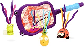 B. toys by Battat B. toys – Hippo Scoop-A-Diving Pool Toys - 1 Hippo Net & 4 Water Toys for Kids 3+ (5Piece), purple