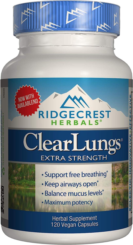 Ridgecrest Clearlungs Extra Strength, Herbal Decongestant, 120 Vegan Capsules : Health & Household