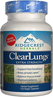 Ridgecrest Clearlungs Extra Strength, Herbal Decongestant, 120 Vegan Capsules