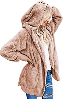 Abravo Mujer Abrigo Chaqueta Invierno Otoño Sudadera con Capucha Casual Cálido Chal Sólido Parka Desgastar Talla Grande